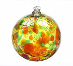 Autumn Leaves Calico Blown Glass Friendship Ball