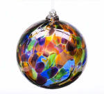 Festive Multi Calico Blown Glass Friendship Ball