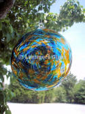 Blue Sun Blown Glass Spiral Disc
