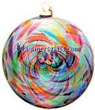 Blue Multi Blown Glass Spiral Disc