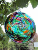 Green Multi Blown Glass Spiral Disc