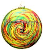 Lime Turquoise Cranberry Blown Glass Spiral Disc