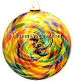 Lime Mix Blown Glass Spiral Disc