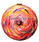 Pink Multi Blown Glass Spiral Disc