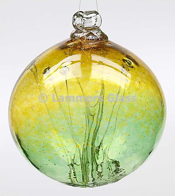 Gold / Green Blown Glass Witch Ball