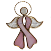 Stained Glass Pink Cancer Angel