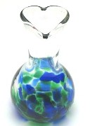 Blown Glass I Love You Mom Vase -Blue Green Mix