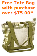 Free Tote Bag with Purchase of $75.00 or more!