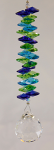 Lime, Blue, Aqua Hanging Crystal Prism Shakral w/ 30 mm