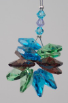 Aqua, Green, Purple Hanging Crystal Prism Cluster Chakra