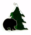 Black Bear & Tree Stained Glass Nightlight Suncatcher