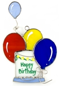 Birthday Cake & Balloons Stained Glass Nightlight Suncatcher