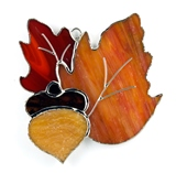 Autumn Fall Leaves Stained Glass Nightlight or Suncatcher