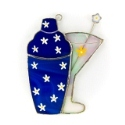 Blue Martini Shaker Stained Glass Nightlight or Suncatcher