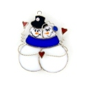 Snow Couple with Hearts Stained Glass Nightlight or Suncatcher