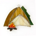 Camp Fire and Tent Stained Glass Nightlight or Suncatcher