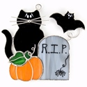 Halloween Cat Stained Glass Nightlight or Suncatcher