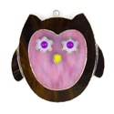 Pink Owl Stained Glass Nightlight Suncatcher